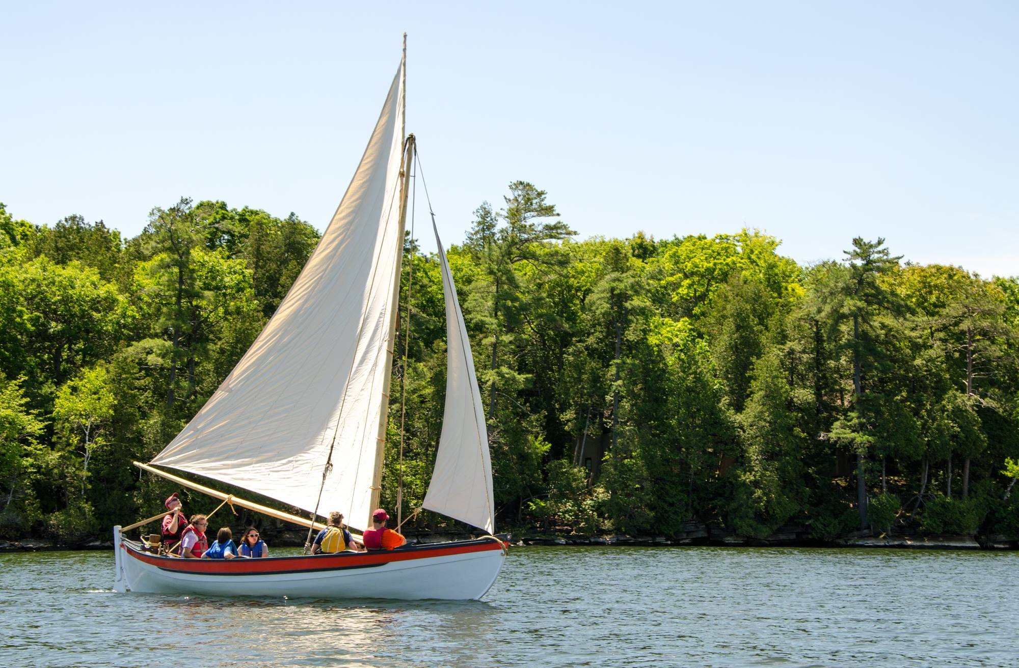 Campers sail on Lake Champlain