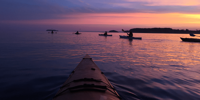 Kayaks paddle during a sunrise