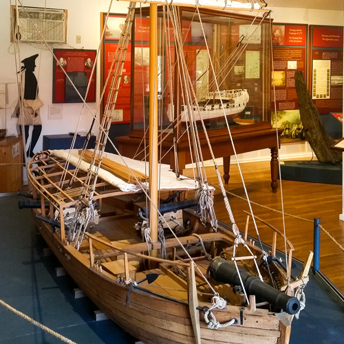 Model boat in an exhibit