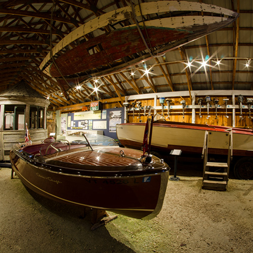 Boats inside an exhibit building