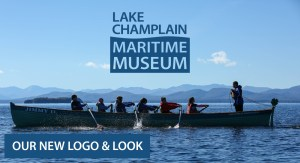 Teen crew rows in a boat with new museum logo superimposed over the image