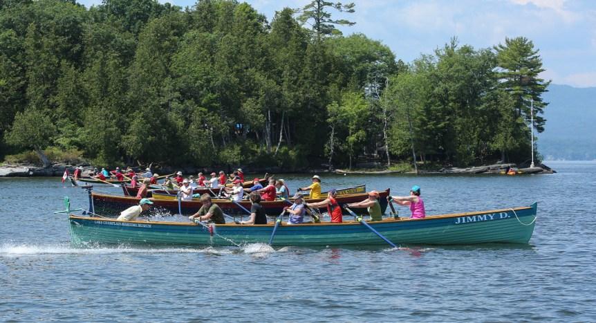 Rowing teams in a race