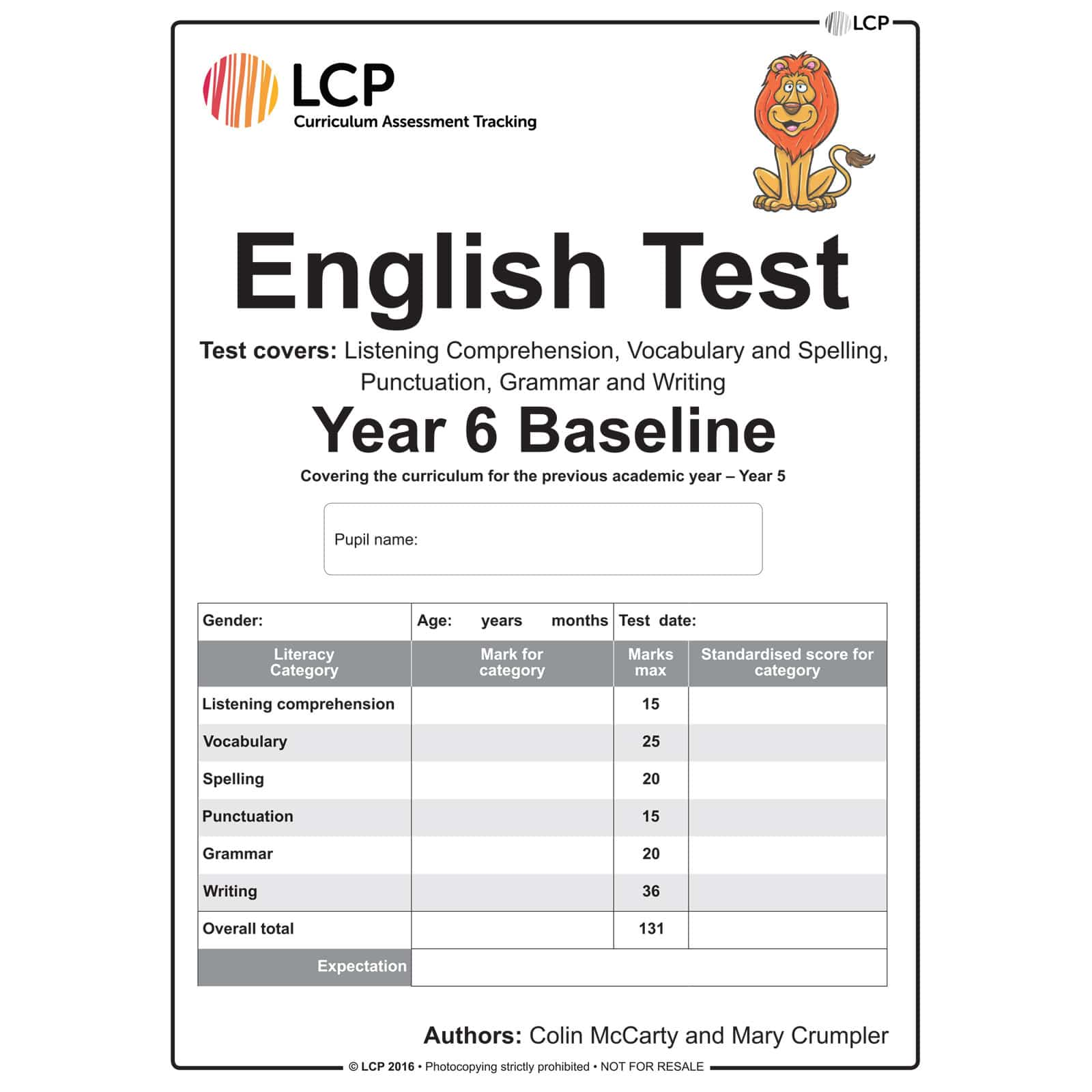 English Baseline Year 6 Class Pack Of 30 Papers