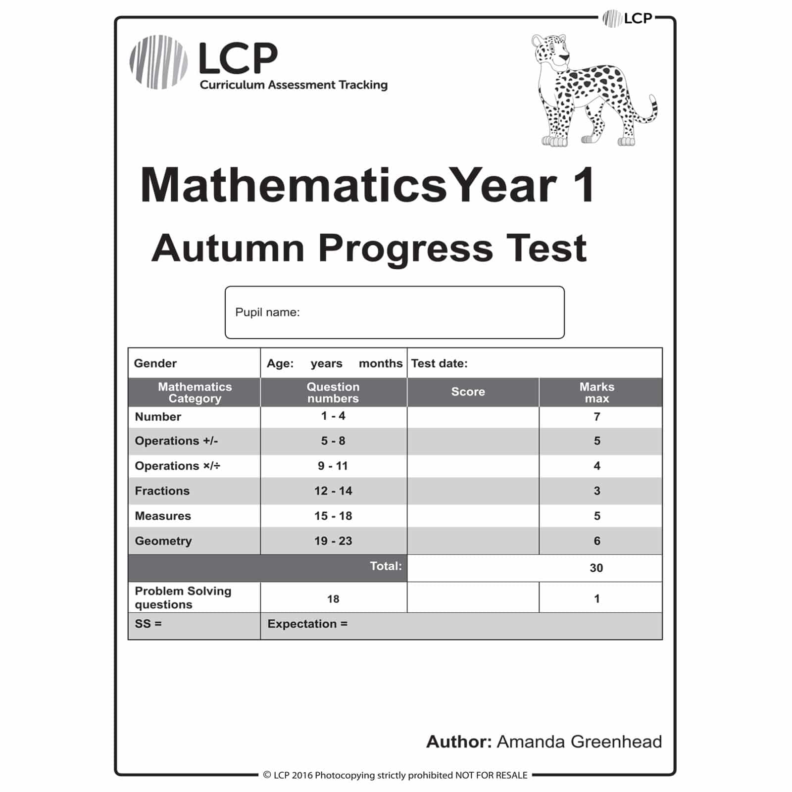 Maths Autumn Year 1 Class Pack Of 30 Papers