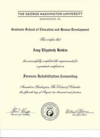 Forensic Rehabilitation Counseling graduate certificate