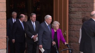 Members of the Quorum of the Twelve Apostles leave the Tabernacle after the funeral. Elders Russell M. Nelson and David A. Bednar gave powerful prayers.