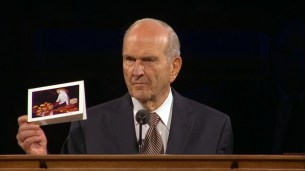 President Nelson shared this personal card Elder Scott had given him, with one of Elder Scott's own paintings. He recounted many stories of their service together, including dedicating countries in South America in the midst of gunfire.