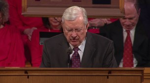 """Elder Ballard offered the benediction. """"We thank thee, Heavenly Father, for the privilege of knowing him."""""""