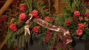 Multiple flower arrangements were provided from the different organizations of the Church.