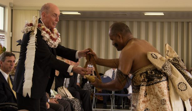 """President Eyring was honored by way of a traditional Fijian welcoming ceremony — called """"qaloqalovi"""" — at Naulu, near Suva. It was presented by members of the Church from the Nausori Fiji Stake (similar to a diocese)."""