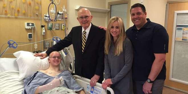 Elder Dallin H. Oaks Visits Injured LDS Missionary in Hospital