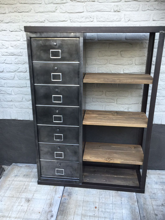 meubles de rangement industriel metal bois