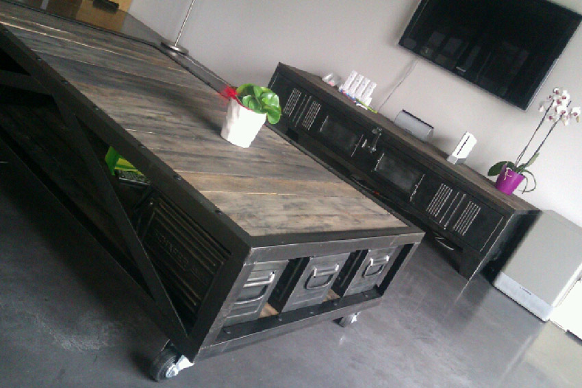 tables basses mobilier industriel l
