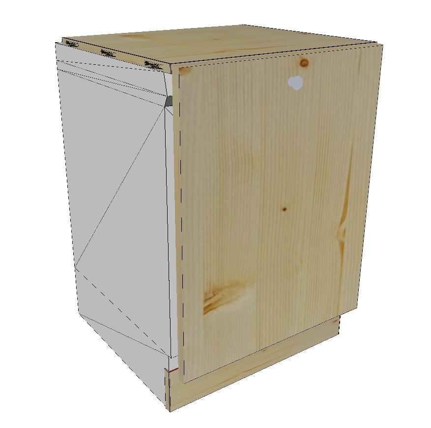 meuble lave vaisselle 1 porte en bois