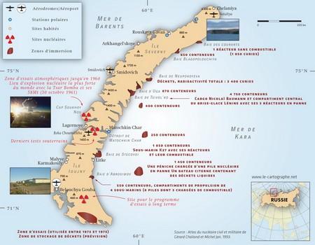 Carte : Le nucléaire et la Nouvelle-Zemble (Russie)