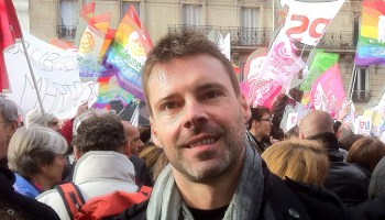 Frédéric Gonano (ex-PS), lors de la grande manifestation pour le Mariage pour Tous, à Paris, l'année dernière.