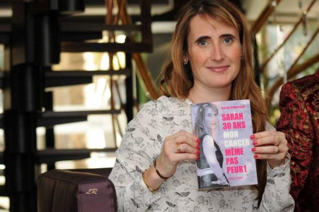 Photos Loïc Robinot : La comédienne Sarah Pébereau lors de la dédicace de son livre  mise en place avec le CML par Equilibre 66 et de la Caisse d'Epargne Languedoc-Roussillon