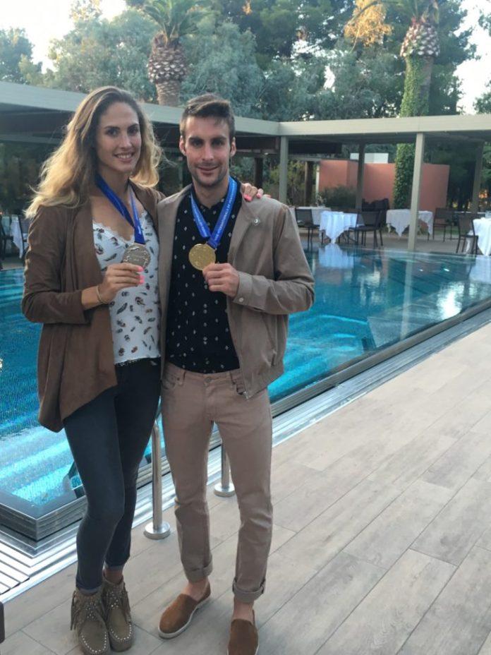 ELODIE CLOUVEL, du club de Pentathlon moderne de Perpignan, et son partenaire VALENTIN BELAUD du Club de Lézignan