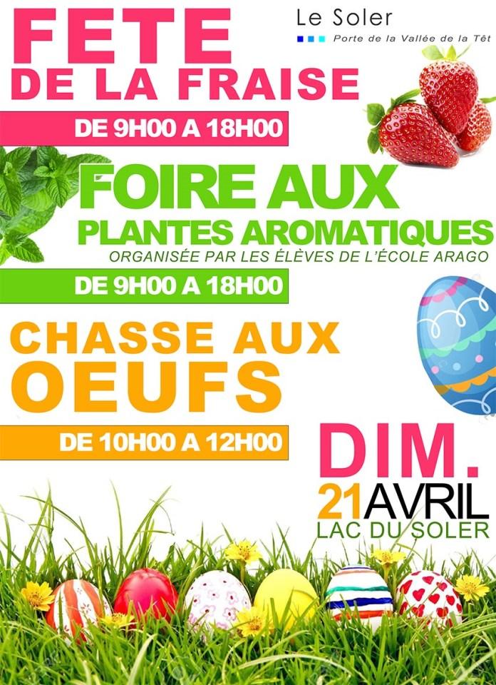 Fête de la Fraise, chasse aux œufs et foire aux plantes aromatique au Lac du Moulin le dimanche 21 avril