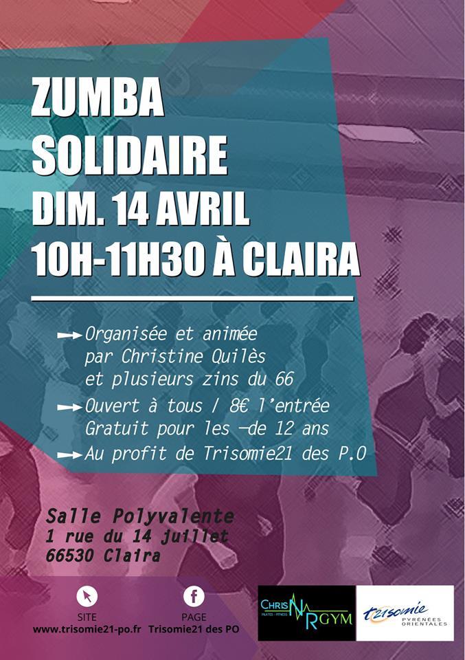 Zumba solidaire le 14 avril à Claira