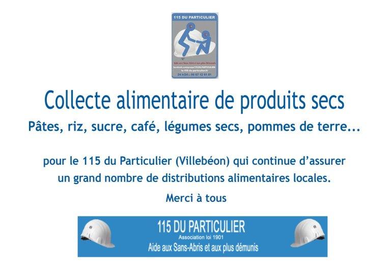 115DP-Affiche collecte alimentaire Boulangerie Lorrez le Bocage