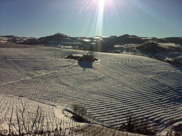 Beautiful snowy hills in Piedmont