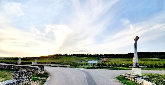 crossed road burgundy countryside