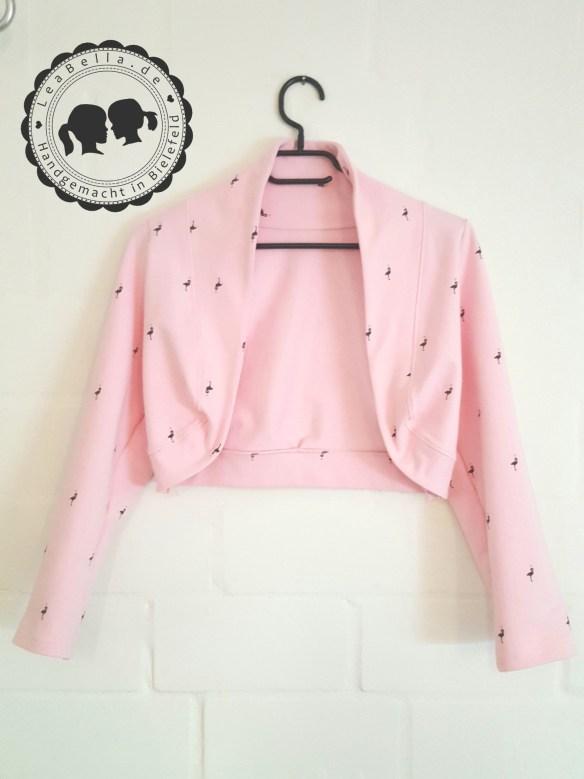 Bolero für die große Tochter in rosa mit Flamingos und mini Goldherzen