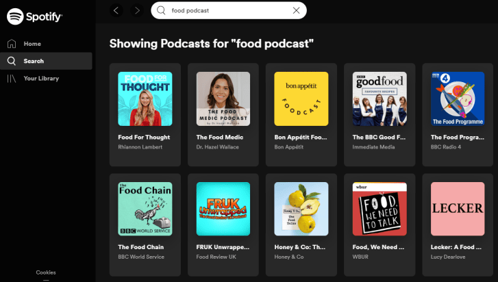 A screenshot from spotify showing a list of food podcasts.