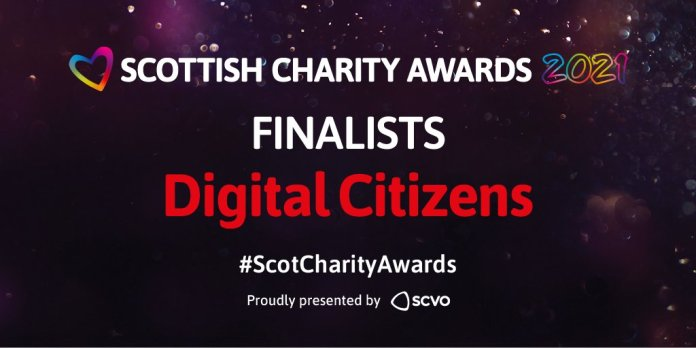 Black-purple background with sparkles. Writing in white and red says 'Scottish Charity Awards 2021 Finalists digital citizens #ScotCharityAwards. Proudly presented by SCVO