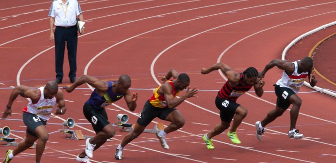 Heat 3 of the Mens 100m Semi-Final