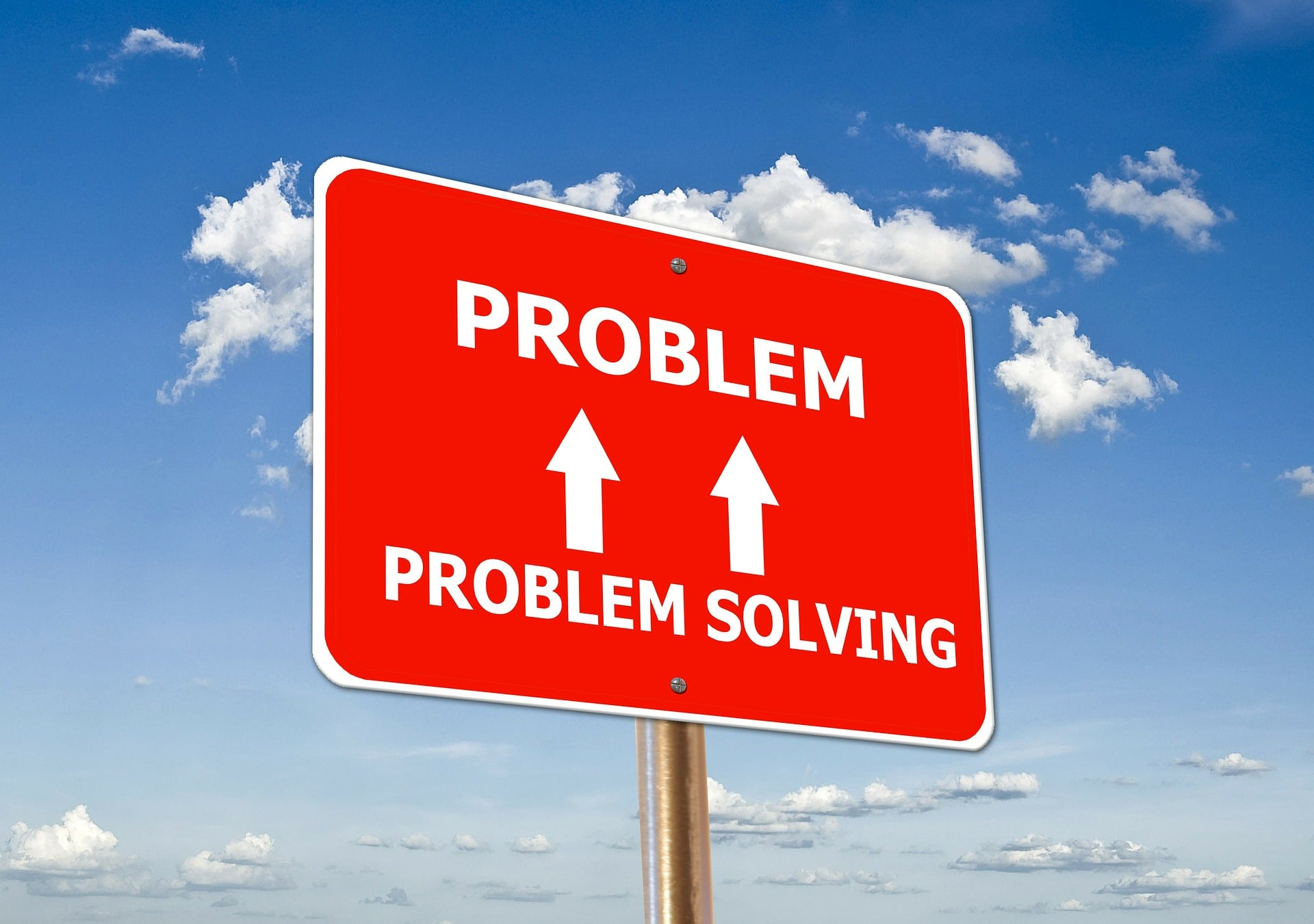 street sign showing relationship between problem and problem solving