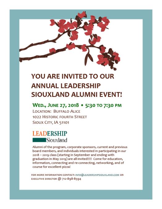 Leadership Siouxland Alumni Event Invitation