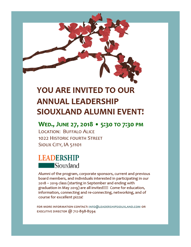 Leadership Siouxland Alumni Event Invitation