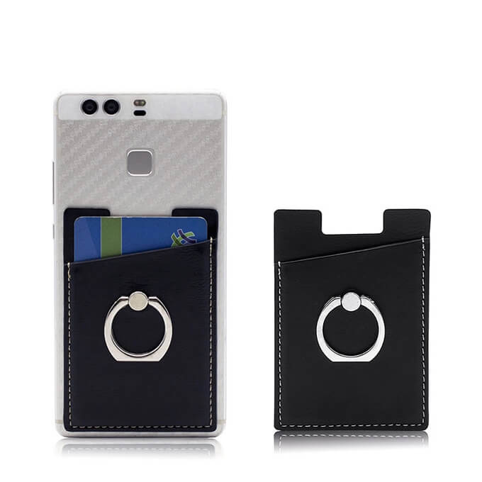 PU Leather 3m Sticker Cell Phone Card Slot Holder with Finger Ring Holder Kickstand
