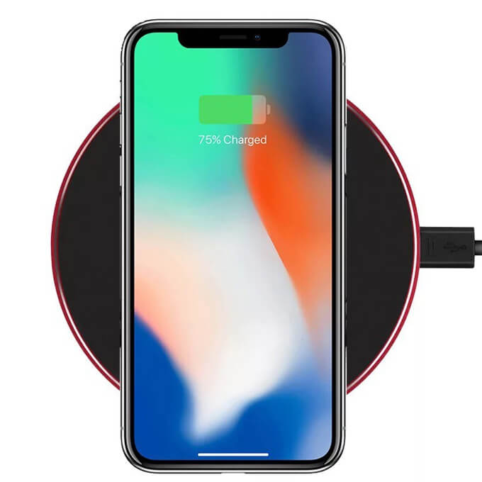 Small Size 10W Round Mobile Phone Charger Pad Qi Wireless Charger with Micro USB Port