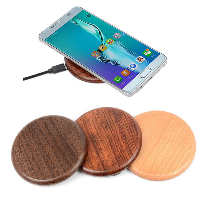 2020 Portable Bamboo Wood QI Wireless Charger Quick Phone Charger for iPhone 8