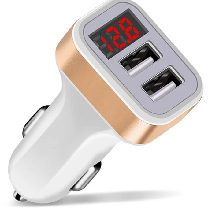 5V 2.1A LCD Voltage LED Display Dual Port 2 USB Car Charger for Phone Charging
