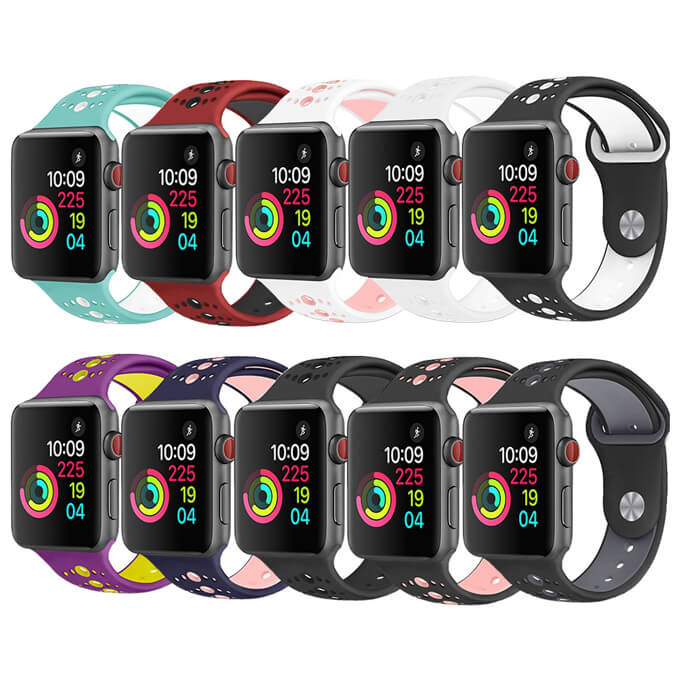Free sample Dual-Color Soft Silicone Sports Band For Apple Watch 38mm 42mm Wristband Strap