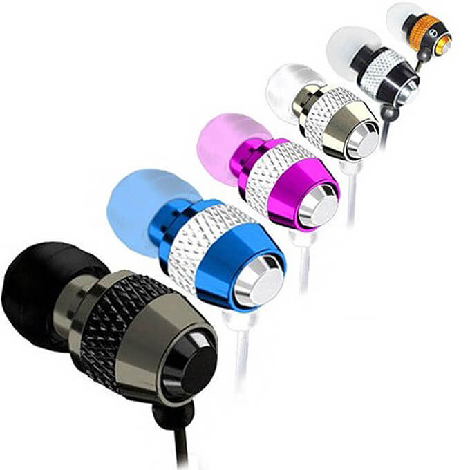 Wholesale Fashion High-Quality Colorful Metal Mobile Accessories Wired Earphone In-ear
