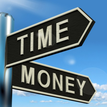 Time Money Signpost Shows Hours Are More Important Than Wealth