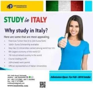 providing study visa to Italy