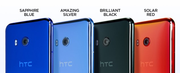 The HTC U11 in four colors, Sapphire Blue, Amazing Silver, Brilliant Black, and Solar Red