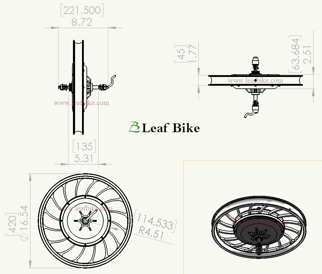 20 Inch 36v 750w Rear Casted Hub Motor Electric Bike Conversion Kit