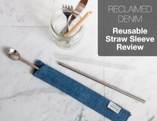 Denim Reusable Straw Sleeve and Utensils