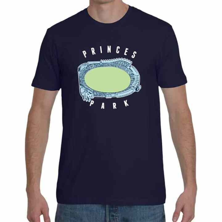 vintage t shirt of princes park carlton footy ground in navy blue