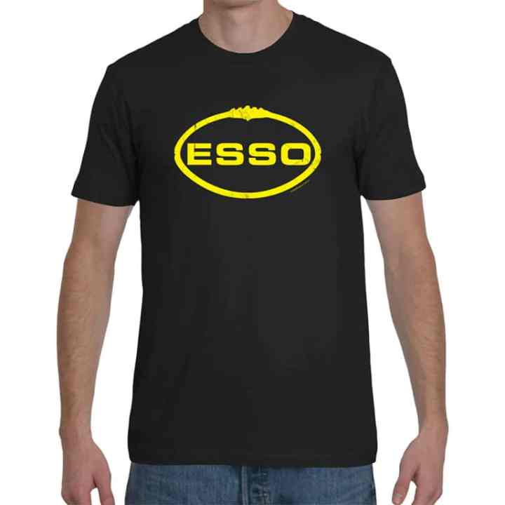 a retro footy t shirt based on the ESSO footy jumper