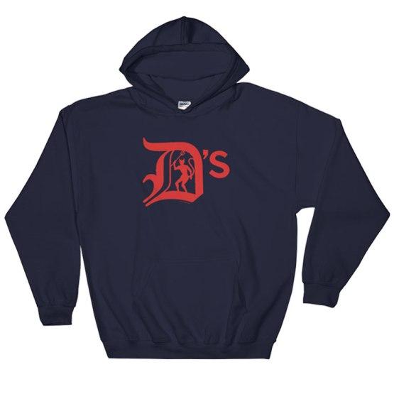 dees red and blue hoodie