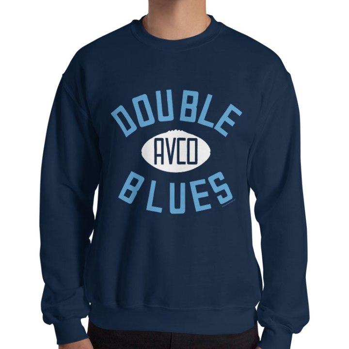double blues retro footy jumper