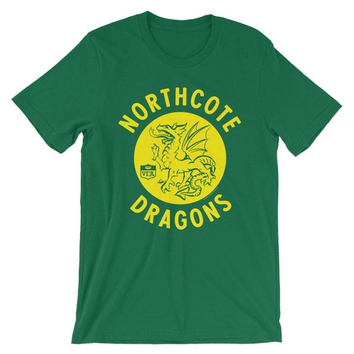 northcote dragons retro footy t-shirt green